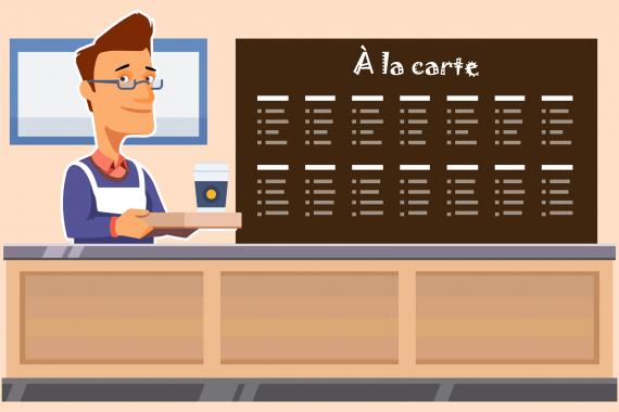 Bilde av servitør foran en meny.